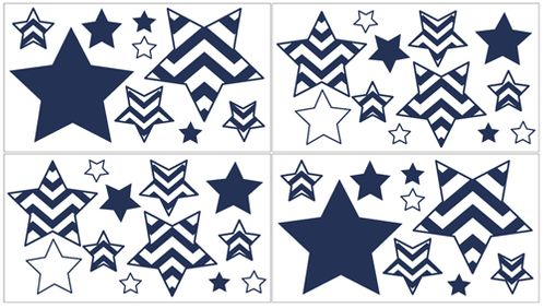 Navy and White Chevron Zig Zag Peel and Stick Wall Decal Stickers Art Nursery Decor by Sweet Jojo Designs - Set of 4 Sheets - Click to enlarge