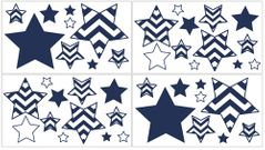 Navy and White Chevron Zig Zag Peel and Stick Wall Decal Stickers Art Nursery Decor by Sweet Jojo Designs - Set of 4 Sheets