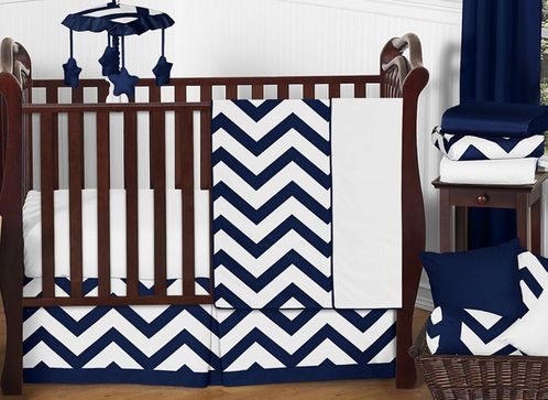 Navy and White Chevron ZigZag Baby Bedding - 11pc Crib Set by Sweet Jojo Designs - Click to enlarge