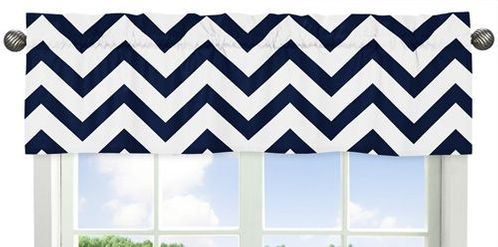 Navy and White Chevron Collection Zig Zag Window Valance - Click to enlarge