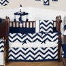 Navy and White Chevron ZigZag Baby Bedding - 9pc Crib Set by Sweet Jojo Designs