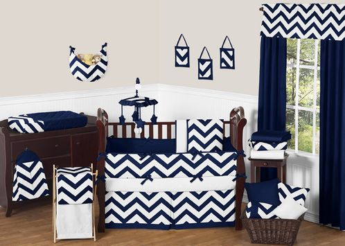 Navy and White Chevron ZigZag Baby Bedding - 9pc Crib Set by Sweet Jojo Designs - Click to enlarge