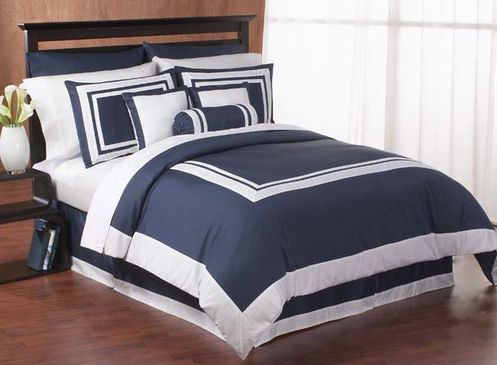 Navy and White Hotel Duvet Comforter Cover 6-pc  Bedding Set - Click to enlarge