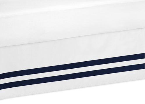 Navy and White Toddler Bed Skirt for Anchors Away Nautical Kids Childrens Bedding Sets - Click to enlarge