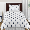Navy and White Woodland Deer 4pc Twin Bedding Set by Sweet Jojo Designs