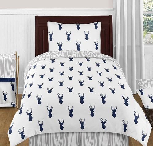Navy and White Woodland Deer 4pc Twin Bedding Set by Sweet Jojo Designs - Click to enlarge