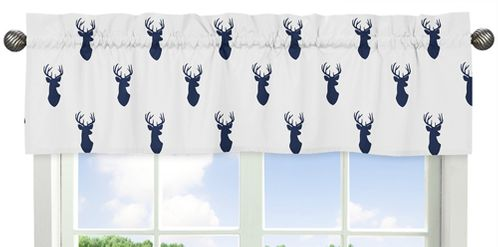 Navy and White Woodland Deer Collection Window Valance by Sweet Jojo Designs - Click to enlarge