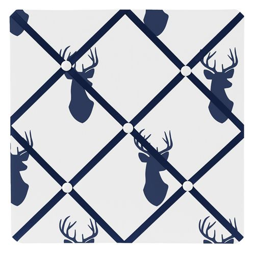 Navy and White Woodland Deer Fabric Memory/Memo Photo Bulletin Board by Sweet Jojo Designs - Click to enlarge