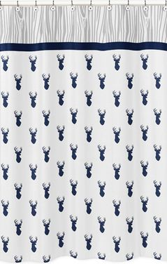 Navy and White Woodland Deer Kids Bathroom Fabric Bath Shower Curtain by Sweet Jojo Designs