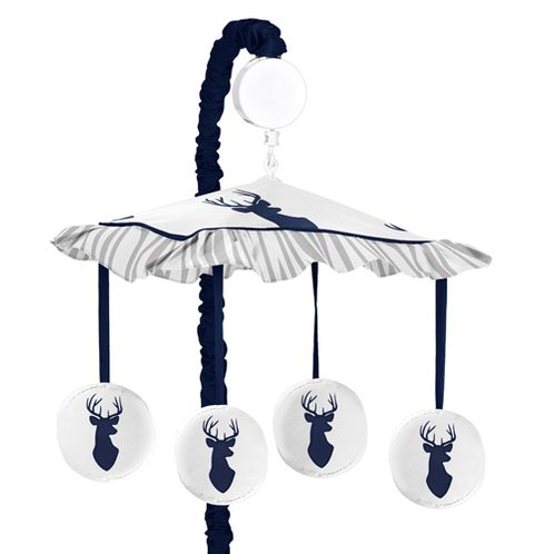 Navy and White Woodland Deer Musical Baby Crib Mobile by Sweet Jojo Designs - Click to enlarge