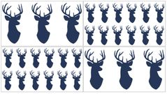 Navy and White Woodland Deer Peel and Stick Wall Decal Stickers Art Nursery Decor by Sweet Jojo Designs - Set of 4 Sheets