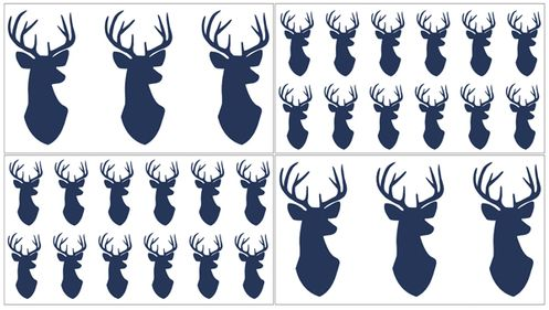 Navy and White Woodland Deer Peel and Stick Wall Decal Stickers Art Nursery Decor by Sweet Jojo Designs - Set of 4 Sheets - Click to enlarge