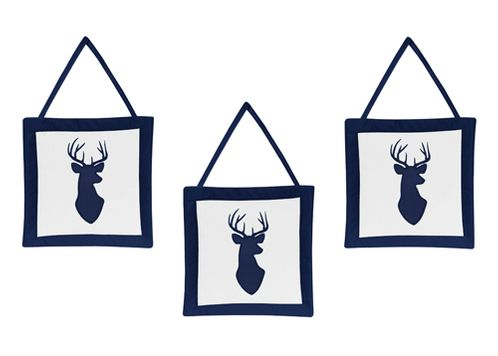 Navy and White Woodland Deer Wall Hanging Accessories by Sweet Jojo Designs - Click to enlarge