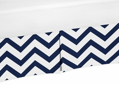 Navy and White Zig Zag Crib Bed Skirt for Chevron Baby Bedding Sets by Sweet Jojo Designs