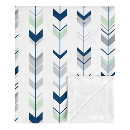 Navy Arrow Baby Boy Girl Receiving Security Swaddle Blanket for Newborn or Toddler Nursery Car Seat Stroller Soft Minky by Sweet Jojo Designs - Blue Mint Grey and White Woodland - Click to enlarge