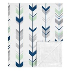 Navy Arrow Baby Boy Girl Receiving Security Swaddle Blanket for Newborn or Toddler Nursery Car Seat Stroller Soft Minky by Sweet Jojo Designs - Blue Mint Grey and White Woodland