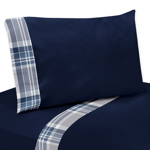 Navy Blue 3 pc Twin Sheet Set for Plaid Boys Bedding Collection - Click to enlarge