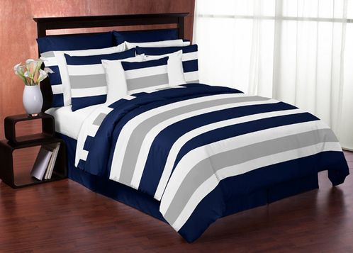 Navy Blue and Gray Stripe 3pc Teen Full / Queen Bedding Set - Click to enlarge