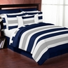 Navy Blue and Gray Stripe 4pc Teen Twin Bedding Set Collection