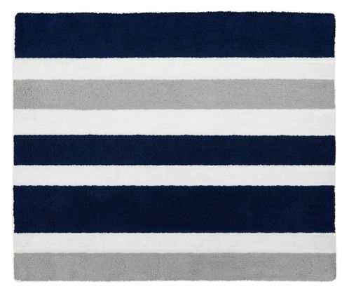 Navy Blue and Gray Stripe Accent Floor Rug by Sweet Jojo Designs - Click to enlarge