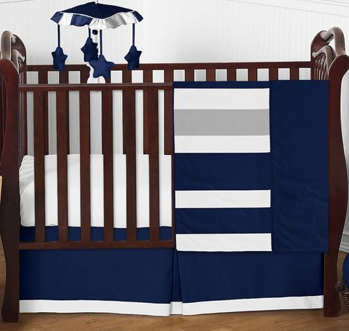 Navy and Grey Stripe Baby Boy Girl Nursery Crib Bedding Set by Sweet Jojo Designs - 4 pieces - Blue, Gray and White Gender Neutral - Click to enlarge