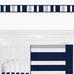 Navy Blue and Gray Stripe Childrens and Teen Modern Wall Paper Border