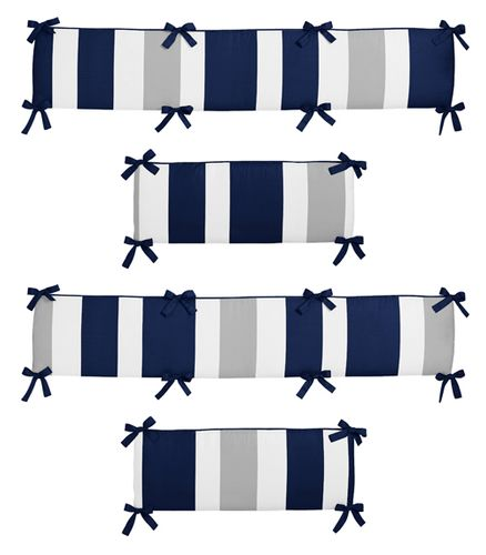 Navy Blue and Gray Stripe Collection Crib Bumper by Sweet Jojo Designs - Click to enlarge