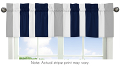 Navy Blue and Gray Stripe Collection Window Valance by Sweet Jojo Designs