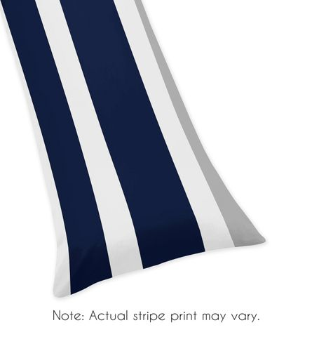 Navy Blue and Gray Stripe Full Length Double Zippered Body Pillow Case Cover - Click to enlarge