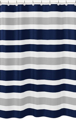 Navy Blue and Gray Stripe Kids Bathroom Fabric Bath Shower Curtain - Click to enlarge