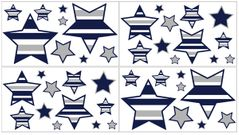 Navy Blue and Gray Stripe Peel and Stick Wall Decal Stickers Art Nursery Decor by Sweet Jojo Designs - Set of 4 Sheets