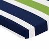 Navy Blue and Green Baby Fitted Mini Portable Crib Sheet for Stripe Collection by Sweet Jojo Designs