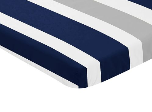 Navy Blue and Grey Baby Fitted Mini Portable Crib Sheet for Stripe Collection by Sweet Jojo Designs - Click to enlarge