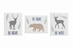 Blue and Grey Deer and Bear Wall Art Room Decor Hangings for Baby, Nursery, Kids and Childrens Woodland Animals Collection by Sweet Jojo Designs - Set of 3