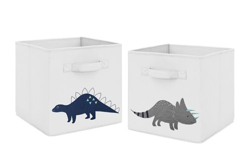 Navy Blue and Grey Modern Dino Foldable Fabric Storage Cube Bins Boxes Organizer Toys Kids Baby Childrens for Mod Dinosaur Collection by Sweet Jojo Designs - Set of 2 - Click to enlarge