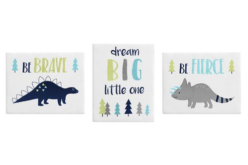 Navy Blue and Grey Modern Dinosaur Wall Art Room Decor Hangings for Baby, Nursery, Kids and Childrens Mod Dino Collection by Sweet Jojo Designs - Set of 3 - Click to enlarge