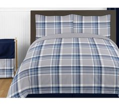 Navy Blue and Grey Plaid 4pc Twin Boys Teen Bedding Set Collection by Sweet Jojo Designs