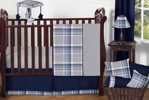 Navy Blue and Grey Plaid Boys Baby Bedding - 11pc Crib Set by Sweet Jojo Designs - Click to enlarge