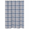 Navy Blue and Grey Plaid Boys Kids Bathroom Fabric Bath Shower Curtain