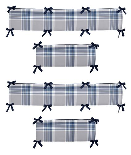 Navy Blue and Grey Plaid Collection Crib Bumper by Sweet Jojo Designs - Click to enlarge