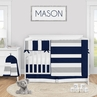 Navy Blue and Grey Stripe Baby Boy Nursery Crib Bedding Set by Sweet Jojo Designs - 5 pieces - Gray White