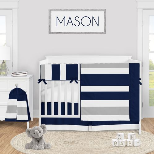 Navy Blue and Grey Stripe Baby Boy Nursery Crib Bedding Set by Sweet Jojo Designs - 5 pieces - Gray White - Click to enlarge
