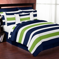 Navy Blue and Lime Green Stripe 3pc Teen Full / Queen Bedding Set Collection