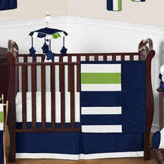 Navy Blue and Lime Green Stripe Baby Bedding - 11pc Crib Set by Sweet Jojo Designs