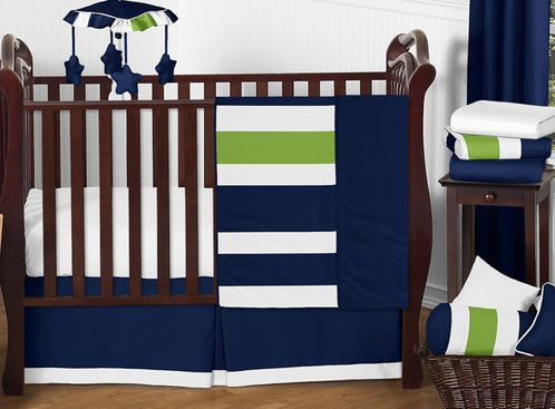 Navy Blue and Lime Green Stripe Baby Bedding - 11pc Crib Set by Sweet Jojo Designs - Click to enlarge