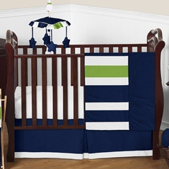 Navy Blue and Lime Green Stripe Baby Bedding - 4pc Crib Set by Sweet Jojo Designs