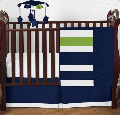 Navy Blue and Lime Green Stripe Baby Bedding - 4pc Crib Set by Sweet Jojo Designs - Click to enlarge