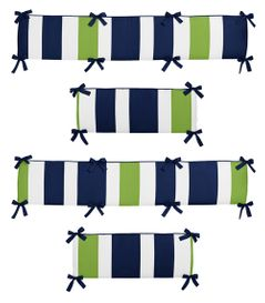 Navy Blue and Lime Green Stripe Collection Crib Bumper by Sweet Jojo Designs