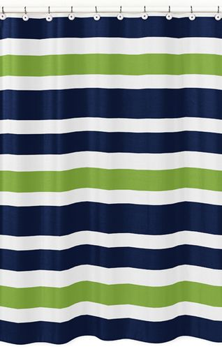 Navy Blue and Lime Green Stripe Kids Bathroom Fabric Bath Shower Curtain - Click to enlarge