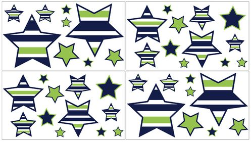 Navy Blue and Lime Green Stripe Peel and Stick Wall Decal Stickers Art Nursery Decor by Sweet Jojo Designs - Set of 4 Sheets - Click to enlarge